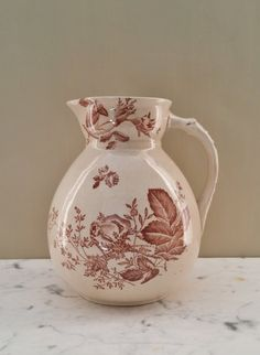 Vintage Dunn and Bennett Earthenware Pitcher Ewer Brown Transferware Transfer Ware Mothers Day Gift