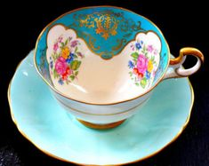Exquisite, rare, unique Adderley tea duo, antique rather than vintage, with no analogue Le Diner, China Tea Cups, Auction Items, Art Deco, Chocolate Pots, Vintage Tea, Etsy Vintage, Tea Ceremony, Tea Cup Saucer