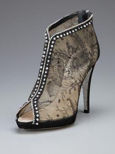 Rene Caovilla Open-Toe Lace Boot