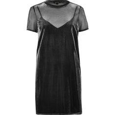 River Island Grey metallic mesh T-shirt dress (125 BRL) ❤ liked on Polyvore featuring dresses, vestidos, grey, women, t-shirt dresses, mesh dress, metallic slip dress, short-sleeve dresses and tee shirt dress