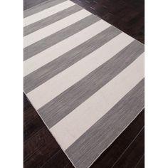 Handmade Flat Weave Stripe Pattern Gray/ Black Rug (5' x 8') | Overstock.com Shopping - The Best Deals on 5x8 - 6x9 Rugs