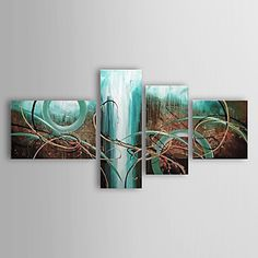 Hand-painted+Abstract+Oil+Painting+with+Stretched+Frame+-+Set+of+4+–+USD+$+119.99