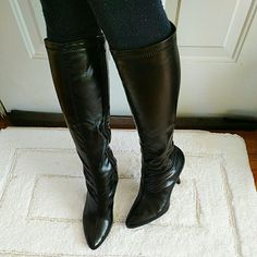 """Naturalizer Catti Black Patent Stretch Boots size8 Brand new with box.  These cute boots are made of stretchable faux patent leather that give you an instant slimming effect. Comfortable cushioning footbed. Side zip closure for easy entry. Non-slip outsole for added stability. Pointy toe. 3.5"""" heels, 14"""" shaft length, up to 16"""" diameter in calf circumstances. Naturalizer Shoes Heeled Boots"""