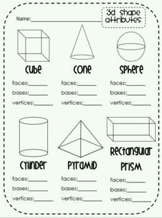 TEKS: 1.6E Audience: First Grade The students will be working individually to complete this worksheet over 3D figures. This is a great activity for students to show they understand what is being taught. I would have my students do this activity to give me a chance to see who is understanding the lessons over 3D shapes. It would give me the opportunity to see who is misunderstanding so I can reteach to students if needed.