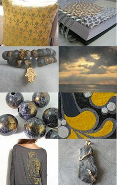 """""""Grey and Gold"""" curated by Pat Sylvester--Pinned with TreasuryPin.com"""