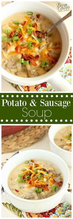Potato & Sausage Soup - A hearty soup filled with breakfast sausage and frozen hash brown potatoes making it a quick and easy soup recipe idea!