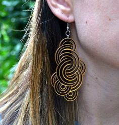 Black Stained Wood Boho Chic Long Dangle Earrings | johnlesliestudios - Jewelry on ArtFire