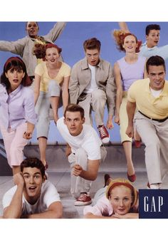 Gap. The Khakis and The Denims, like The Jets and The Sharks in West Side Story. I loved these ads. This was when Gap sold better stuff. They need to go back to this.
