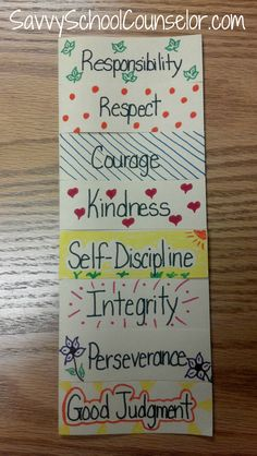 Character Trait Foldable (could use for book characters, planning of writing, etc) This is on a blog by a school counselor with other great Character Education ideas!