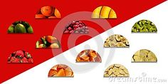 #Semicircles full of various #fruity #textures: one part with #whole #fruits and the other part with #chopped fruits, on red and white background
