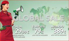 GLOBAL SALE ALITALIA: ITALIA DA 29,99 €, EUROPA DA 79 €, MONDO DA 389 €