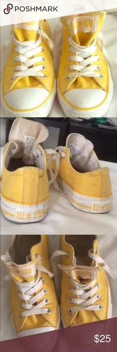 Shop Women's Converse Yellow size 7 Shoes at a discounted price at Poshmark. Description: Few scuffs here and there overall good condition. Yellow Converse, Converse Shoes, Timberland Boots, Overalls, Baby Shoes, Best Deals, Womens Fashion, Sunshine, Clothes