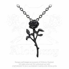 Alchemy Gothic - The Romance of The Black Rose Pendant -Pendants Goth Jewelry, Black Jewelry, Art Deco Jewelry, Fashion Jewelry, Gothic Jewellery, Gothic Necklaces, Pendant Jewelry, Jewelry Necklaces, Chain Jewelry