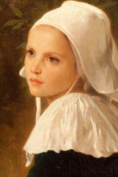 """The Girls of Fouesnant"" (1869) - Pintura a óleo de  Adolphe William Bouguereau (Detalhe)"