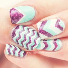 purple mint chevron nail art.  I would have done pink but really cute idea.