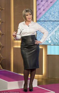 Eamonn Holmes dresses Ruth Langsford as a sexy secretary – Leather Style Thomas Pink Shirts, Black Leather Pencil Skirt, Black Pencil, Ruth Langsford, Celebrities In Stockings, Beautiful Women Over 50, Pirate Fashion, Tv Girls, Jeans Rock