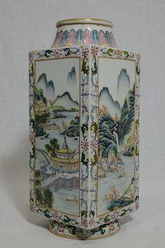 Chinese  Famille  Rose  Porcelain  Square  Vase  With  Studio  Mark   3
