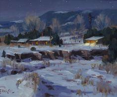 Winter Night, Tucumcari, NM - oil - 10 x 12