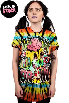 This super comfy oversized tie dye tee has an extra soft print on the front the reads ROT YOUR BRAIN with a skull and video games and TVs and slime on it! Female model is and wearing a size Mediu Visual Kei, Rave Outfits, Cool Outfits, Emo Fashion, Fashion Outfits, Kawaii Clothes, Punk, Boyfriend Tee, Alternative Fashion