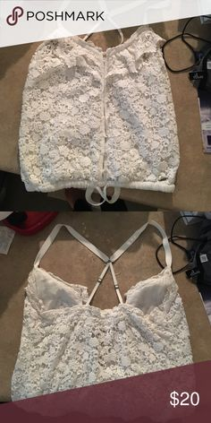 Abercrombie Lace Tank Crop like fit. Small crystal like details on the buttons. Excellent condition. Perfect summer top! 👙☀️ Abercrombie & Fitch Tops Tank Tops