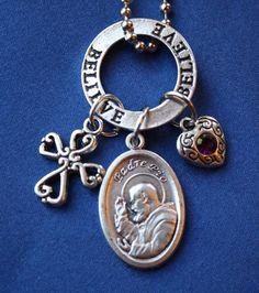 Padre Pio Saint Medal Necklace