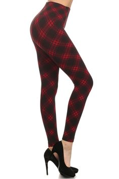 Diagonal Plaid Fleece Lined Leggings | OnlyLeggings.com