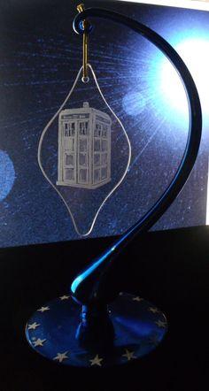 Tardis Doctor who ornament engraved glass by GlassGoddessNgraving, $23.00