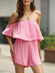 Fashionable Off-The-Shoulder Flouncing Pink Romper For Women PINK: Jumpsuits & Rompers | ZAFUL