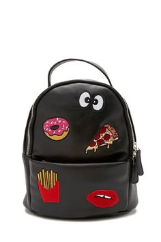 A structured faux leather backpack featuring a top handle, a zip top, adjustable shoulder straps, one front exterior zip pocket, one interior slip pocket, one interior zip pocket, and front embroidered patches of a donut, a slice of pizza, googly eyes, french fries, and lips.