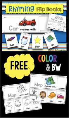 Rhyming flip books - easy literacy center for kindergarten or preschool FREE