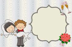 Sweet Wedding Couple: Free Printable Invitations.