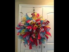 Deco Mesh Spiral Wreath - YouTube