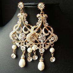 GOLD Chandelier Bridal Wedding Earrings Statement by luxedeluxe, $88.00