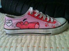 Zapatillas pintadas a mano Pantera rosa /Hand painted sneakers Pink Panther by anapeig.deviantart.com on @deviantART