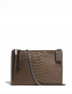 Coach Zip Top Crossbody in Python Embossed Leather