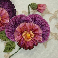 French Ribbon Pansy with Large Ruched Petal Detail