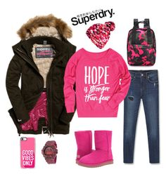 """""""The Cover Up – Jackets by Superdry: Contest Entry"""" by rossie-rz ❤ liked on Polyvore featuring MANGO, UGG, Casio, Superdry, Casetify and LC Trendz"""