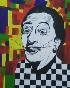 Salvador Dalí #artist #art #salvadordaliart #acrilic #tinta #mixto  #ilustración #drawing #colores