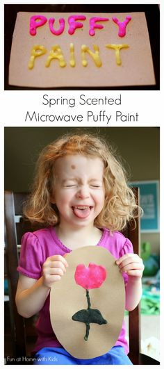 Check out this cool family craft that will have you dreaming of warmer days!  Spring Scented Microwave Puffy Paint Recipe from Fun at Home with Kids