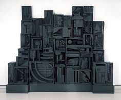 Louise Nevelson - Sky Cathedral, 1958. Wood, painted black. From the collection of the Albright-Knox Art Gallery, Buffalo.