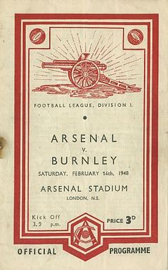 Arsenal vs Everton Saturday October 1948 official football programme found in the Museum of London, Barbican Arsenal Stadium, Arsenal Football, Arsenal Fc, Retro Football, Football Design, Vintage Football, English Football League, Bolton Wanderers, Poster