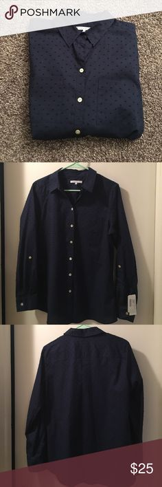 Foxcroft brand button down NWT Foxcroft Navy button down, NWT! 100% cotton. Foxcroft Tops Button Down Shirts