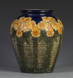 Newcomb College carved pottery vase, carved roses on a trellis background. Initialed HJ by artist Harriet Coulter Joor Antique Pottery, Pottery Vase, Ceramic Pottery, Slab Pottery, Glass Ceramic, Ceramic Clay, Ceramic Bowls, Stoneware, Kintsugi