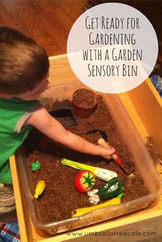 This garden sensory bin introduces your kids to planting and harvesting and gives them the opportunity to imagine and act out real scenarios with play food.