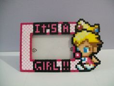 Baby peach it's a girl perler bead picture frame great idea for a ...