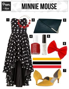 Love the black and white polka dots with red and marigold yellow accents. Minnie Mouse   Disney Style