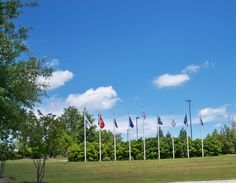 The flags are waving in the pretty May sky at Florence Veterans Park in Florence, SC. http://www.scbeachtrips.com/south-carolina-blog.php