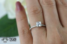 1 ctw Princess Wedding Ring Solitaire Ring by TigerGemstones