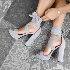 Shared by Maria. Find images and videos about fashion, shoes and heels on We Heart It - the app to get lost in what you love. Heeled Boots, Shoe Boots, Shoes Heels, Grey Heels, Lilac Heels, Grey Sandals, Lace Up Heels, Strappy Sandals, Pretty Shoes