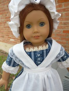 "18"" Doll Clothes 1700's Colonial Style Gown, Apron, Hat Fits American Girl Felicity, Caroline. $29.95, via Etsy."